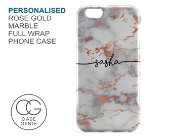 Personalised Handwritten Name Case in Rose Gold Marble iPhone X 8 PLUS 7 6 6s 5 5s 5c SE Samsung Galaxy S9 S8 S7 S6 Edge S5 Custom Cover
