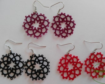 Tatted Lace Black / Burgundy / Red Earrings - Jeanette (1 pair)