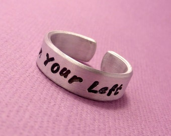 Captain America Inspired - On Your Left - A  Hand Stamped Aluminum Ring