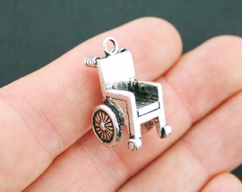 2 Wheelchair Charms Antique Silver Tone 3D - SC5121