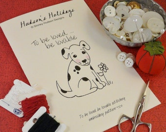 Dalmatian puppy dog embroidery PDF Pattern - stitchery love lovable flower prim primitive