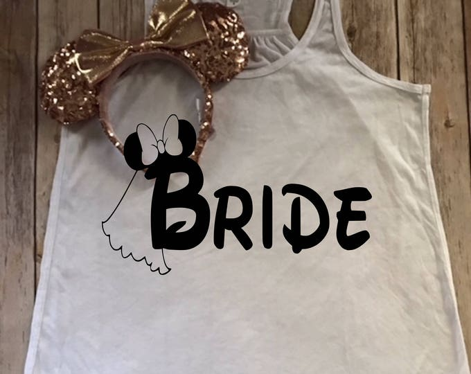 Minnie Bride-Just Married Decal-Bride Tank Top-Tank-Disney Life-Rose Gold-Vacation Iron On Decal Tshirt-Vinyl Decal-Mickey Word A