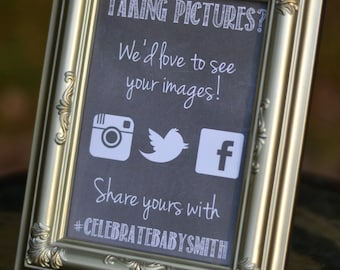 CUSTOM Chalkboard Event Social Media Sign for Baby Showers, Weddings, Parties, or your Business!