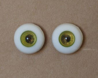 18mm Moonteahouse (Mth) Eyes - Handmade Green / Gold Resin Eyes for BJD, ABJD and Dolls [17082]