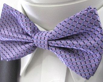 Purple Lavender Diamond Design PreTied Bow Tie