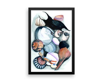 Seashells No.3 Framed Poster . Watercolor Painting Framed Print . Choose Your Size . Shell Collection . Beach Art . Beach Home Decor