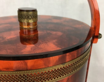 Faux Tortoise Shell Lucite Ice Bucket
