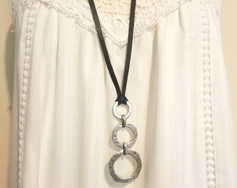 Black Leather or Brown Leather Silver Circles  Pendant Statement Jewelry Statement Necklace Y Necklace adjustable length