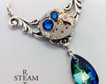 Rococo Steampunk Necklace - Steampunk Jewelry - Swarovski Crystal Necklace -personalized jewelry - steampunk - necklace - vintage jewellery