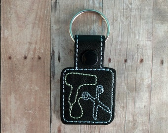 Hair Stylist Key Fob, Hair Dryer and Scissors, Embroidered Vinyl in Choice of 31 Colors with Snap, Hairdresser Key Fob, Barber Bag Tag