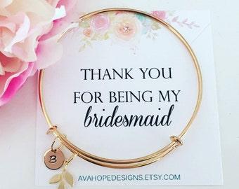 Gold bracelet Initial Bangle Bracelet, Bridesmaid Bracelet Bridesmaid Gift Personalized Gift, Initial Jewelry Best Friend Gift Birthday Gift