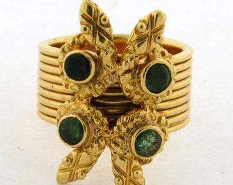 Vintage Zolotas Greece Emerald Four Snake Egyptian Revival Ring