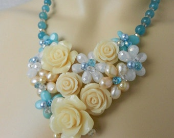 Ivory Blue Rose Necklace - Freshwater Pearls and Resin Rose Necklace. Crystal Necklace. Green necklace. Glass necklace PN56