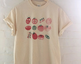 Tomato T-Shirt, Food Shirt, Vegetable Shirt, Garden Shirt, Screen Printed T Shirt, Clothing Gift, Foodie Gift