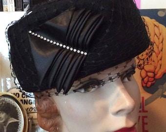 Vintage 1950s 1960s Hat Linda Farrell New York Black 100% Wool Veiling Rhinestone Adornments