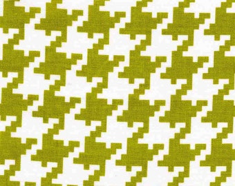 Quilting cotton fabric by the yard, green houndstooth, 100% premium cotton, sewing cotton by Paula Prass. Need more fabric yardage? Just ask