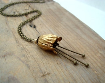 Small Brass Tulip Necklace Bridal Jewelry Flower Jewelry Vintage Style Holiday Floral Necklace Bridesmaid Necklace Gifts Under 40 Wholesale