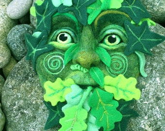 GREEN MAN 3D Needle Felted Wool Sculpture WALLHANGING by Stargazey