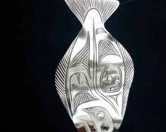 Hand engraved sterling silver Halibut formline pendant