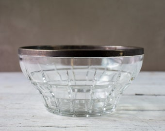 Vintage Glass Serving Bowl with Silverplate Rim-Food Photography Props