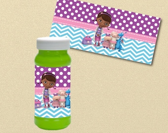 Doc McStuffin Party Printables, bubble labels, bubble wrappers, disney Birthday Party, printables, Dr McStuffin party, Doctor McStuffin