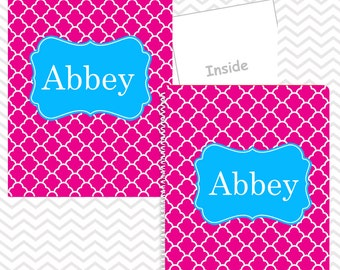 Personalized Folder and Notebook Set - Custom School Folder and Notebook - Folder with Name - Back to School Gift