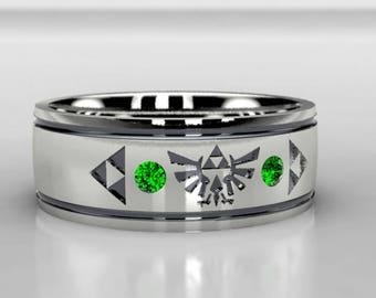 Legend of Zelda Tribute Chatham Emerald Wedding Ring, Zelda Wedding Band in Gold or Palladium, Size 10 ring, Size 8 ring