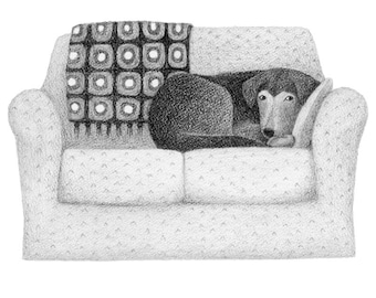 Dog on the Sofa - 4x6 print