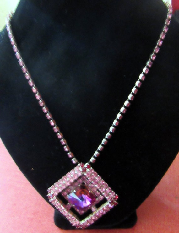 Pink Rhinestone necklace 1960's made in Czechoslovakia