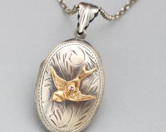 Sterling Silver Bird Necklace Silver Compass Necklace Working Sterling Silver Compass Necklace Silver Compass Locket