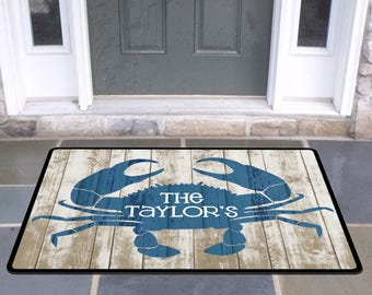 Personalized Rustic Crab Door Mat Beach House Doormat Wedding Gift Ideas  Monogrammed Gifts Personalized Custom Rug