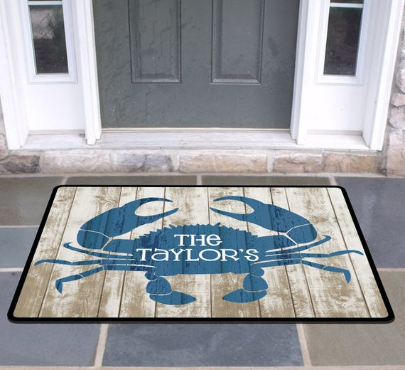 Personalized Rustic Crab Door Mat Beach House Doormat Wedding