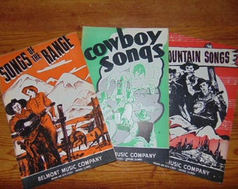 Vintage Belmont Music Cowboy Song Books Vintage 1930s - Lot of Three