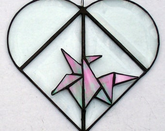 Beveled Glass Heart With Stained Glass Origami Pink Crane, Valentine Gift, Symbol Of Love, Fidelity, Prosperity, Long Life, Peace, Unique