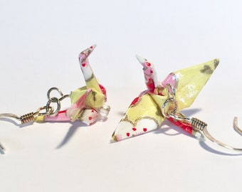 Origami Crane Earrings Light Yellow with pink and  red Flowers 1""