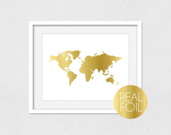 World Map Foil Print // Gold Foil // Rose Gold Foil // Silver Foil // Portrait or Landscape // World Map Print // Foil Print // Custom