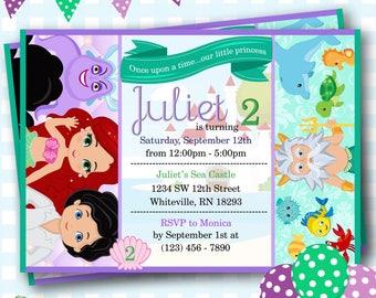 Little Mermaid Invitation, Ariel Invitations, Little Mermaid Invite, Ariel Birthday, Disney Princess Ariel Invite, Mermaid Invitation - P391