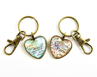 Long Distance Keychain / Valentines Day Gift / Couples Gift Set / Long Distance Relationship Gift / Hers and Hers Gifts / LDR Map Gift