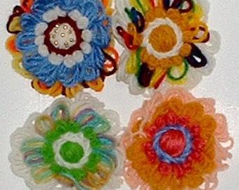 Vintage yarn Flower power Hippie jewlry Pins