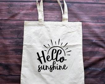 Canvas Tote Bag | Hello Sunshine | Summer Tote