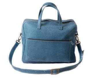 Crossbody bag, travel bag, laptop bag, leather crossbody, leather bag handmade, bag leather, mens messenger, leather bag for work,light blue