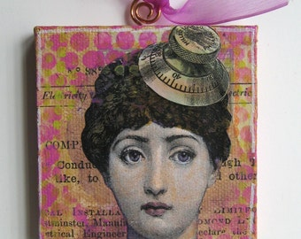 Two-sided Collage Ornament - Lina Cavalieri