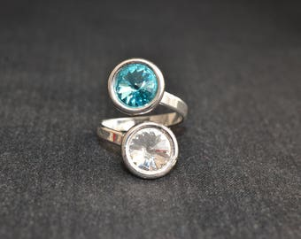 Swarovski crystal - light turquoise 925 sterling silver double cabochon ring