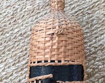 Vintage Wicker Covered Demi John- Wicker Covered Bottle