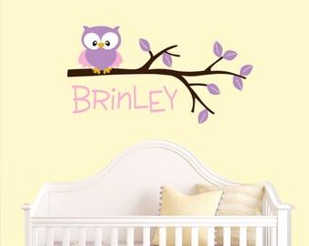 Owl Decals - Kids Monograms- Vinyl Decal - Girls Name Decal - Personalized Decal - Children Monogram  - Owl Nursery