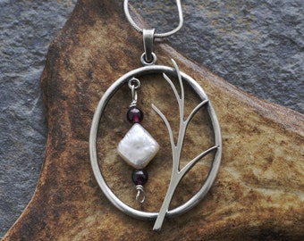 Sterling Silver Pendant with Freshwater Pearl and Garnet