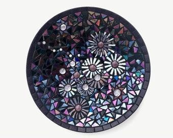 Beautiful Mosaic Bamboo Bowl - Black and Purple