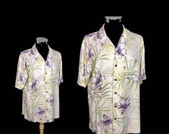 Vintage Mens Hawaiian Tropical Shirt, Caribbean Joe, Green, Yellow, Purple, Rayon, Coconut Buttons,  1980's, Medium