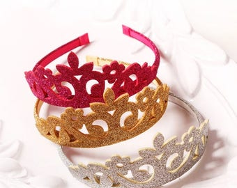 Princess Crown, Tiara Headband, Glitter Crown, Birthday Party Favor