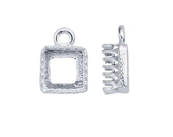 Sterling Silver 6mm Square Gallery Wire Bezel Component Mounting